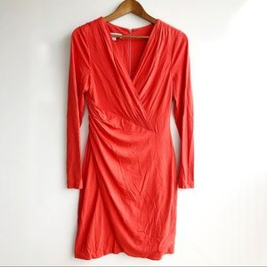 Kay Unger Coral Long Sleeve Wrapped Dress